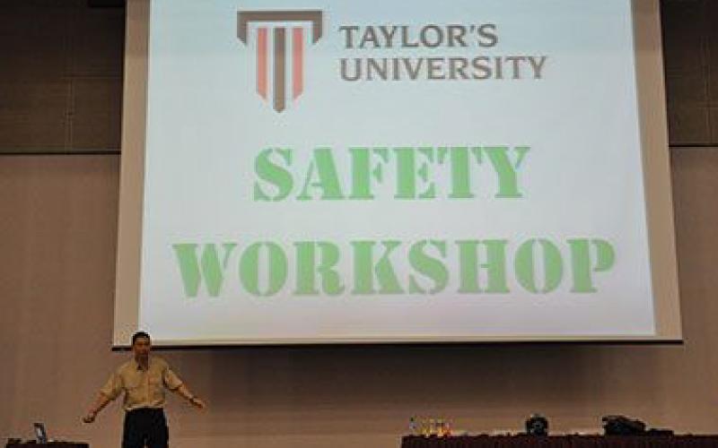 Speaker shares some tips to Taylor's new students on how to protect themselves during orientation.